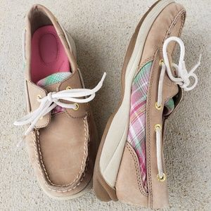SPERRY TOP-SPIDER Leather with Plaid detail, 7.5